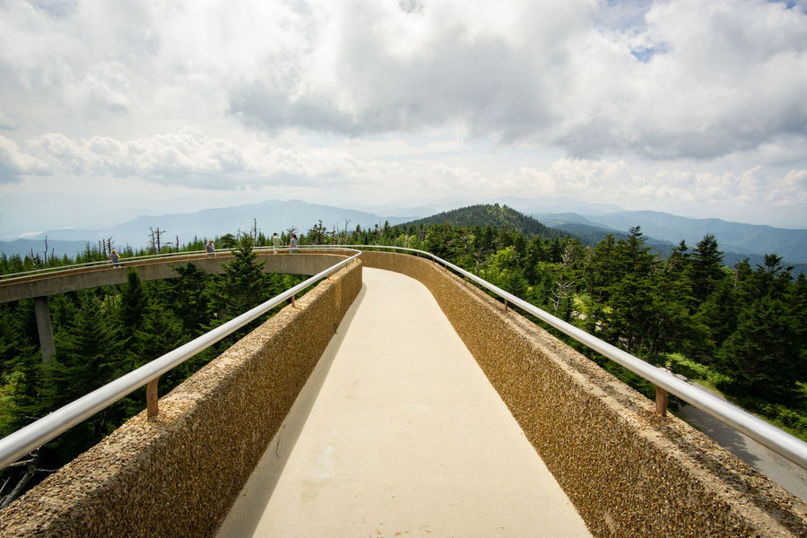 Looking down the walkway Clingmans Dome Winding Path Spiral Built Structure Elevated Walkway Perspective Great Smoky Mountains  National Park Hike Sky Landscape Cloud - Sky