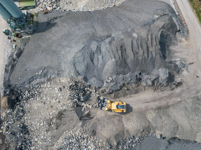 High angle view of mining ground