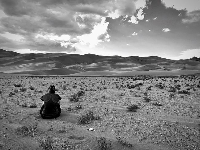 EyeEmNewHere IPhoneography Blackandwhite Sky Cloud - Sky Beauty In Nature Nature Scenics Desert Landscape Sand Tranquil Scene Tranquility Mountain Relaxation Sitting Outdoors EyeEmNewHere