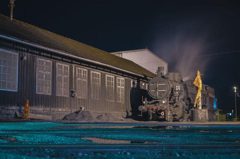 View of locomotive at yard