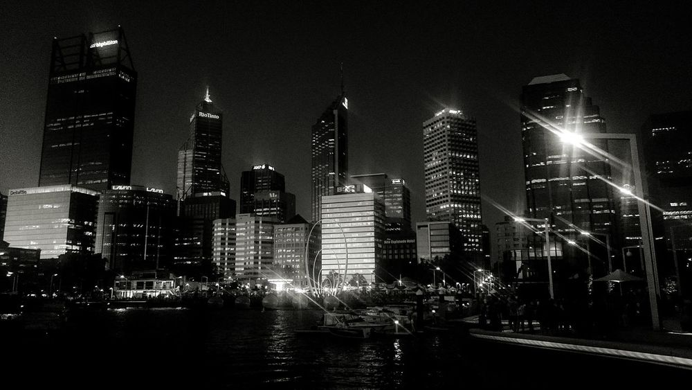 Perth city skyline in black and white Perth Perth City Skyline Night Lights Scenic Elizabethquay Black And White Showcase: February