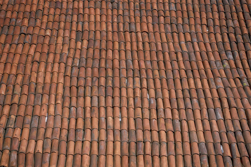 General view of a roof with clay tiles Architecture Construction Rooftop Building Day No People Red Tiles Tiles
