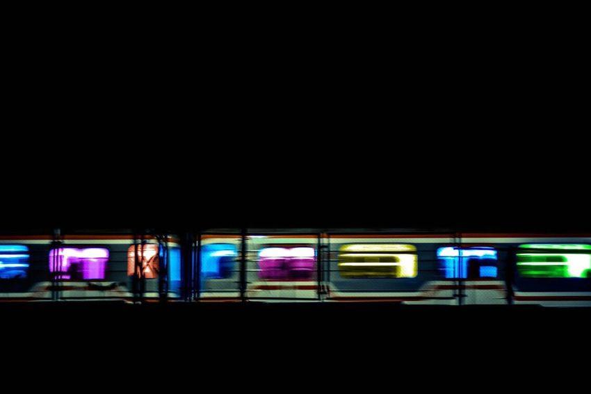 City Communication Copy Space Illuminated Multi Colored Neon Night No People Outdoors Public Transportation Subway Station Subway Train Technology Train - Vehicle Transportation Travel
