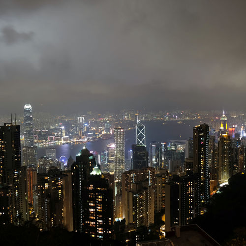 Aerial View Cityscape Crowded Hong Kong Lights Residential District Urban Scene Victoria Peak