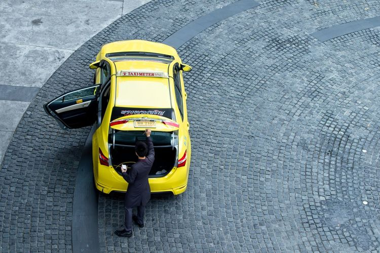 High angle view of person in car
