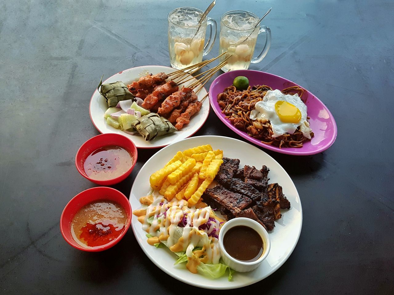 plate, food and drink, food, ready-to-eat, freshness, serving size, high angle view, bowl, no people, table, salad, meat, indoors, spring roll, healthy eating, dip, day