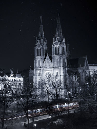 Prague Traveling Architecture Bare Tree Bell Tower Building Exterior Built Structure Bw Church Architecture Cold Temperature Langzeitbelichtung Long Exposure Nature Night No People Outdoors Prag Religion Sky Snow Snowing Spirituality Travel Destinations Tree Winter