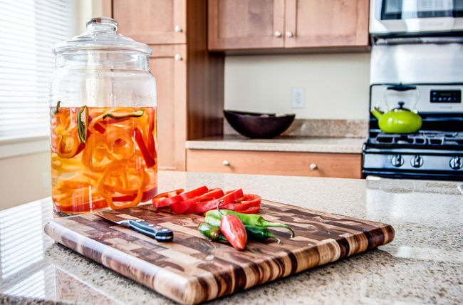 Domestic Kitchen Domestic Life Domestic Room Food Food And Drink Freshness Healthy Eating Home Interior Indoors  Jar Kitchen Kitchen Counter No People Preparation  Vegetable