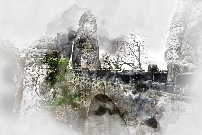 Digital watercolor painting of an old Bastei Bridge. Major landmark of the Saxon Switzerland National Park. Germany Abstract Altered Architecture Art ArtWork Bastei Bridge Computer Generated Digital Art Digital Drawing Digital Illustration Digital Painting Digitally Generated Europe Generated Germany Graphic Illustration Landscape Mountain Nature Outdoors Saxon Switzerland Travel Destinations Watercolor Watercolor Painting