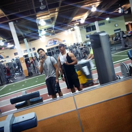 Late night workout with my cousin @j_llera95 Destroyed back and chest. KillinIt