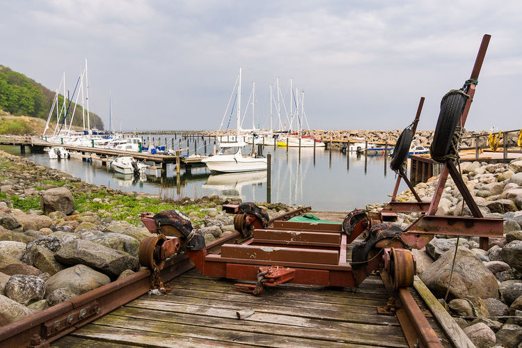 Port in Lohme on the island Ruegen, Germany. Baltic Sea Marina Rails Rügen Sailing Ship Beauty In Nature Coast Harbor Lohme Nature No People Outdoors Port Relax Ruegen Sailing Boat Sea Shore Sky Slip Tourism Transportation Travel Destinations Vacation Water