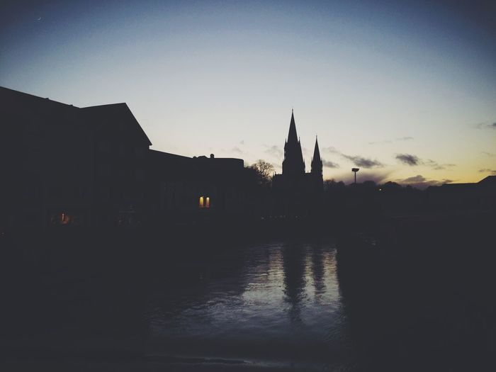 Beautiful Cork Vscocam Ireland🍀 IPhoneography Silhouette Sunset Silhouette Blue Sky Church Cathedral