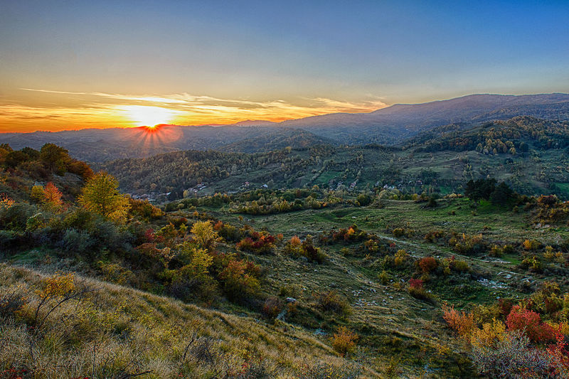 Sunset Beauty In Nature Cloud - Sky Field HDR Hdr_Collection High Angle View Horizon Over Land Idyllic Landscape Landscape_Collection Mountain Mountain Range Nature Non-urban Scene Orange Color Outdoors Scenics Sky Sunlight Sunset Tranquil Scene Tranquility Tree
