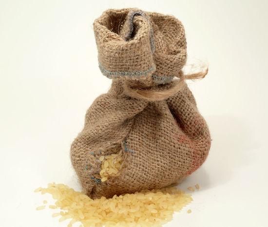 Freigestellt Isolated White Background Isoliert Jute Jutebag Jutebeutel Rice Ricebags