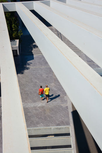 High angle view of people walking