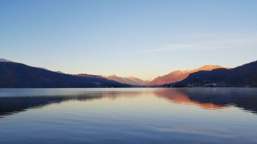 Millstättersee Morning Romance Beauty In Nature Clear Sky Day Lake Millstatt Mountain Mountain Range Nature No People Outdoors Reflection Scenics Sky Sunrise Sunset Tranquil Scene Tranquility Water Waterfront Shades Of Winter The Mobile Photographer - 2019 EyeEm Awards