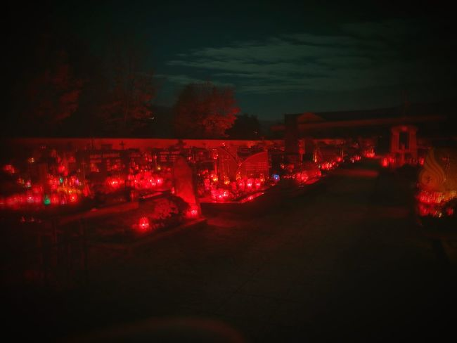 Graveyard AllSaintsDay Candlelight Candles Red Illuminated Night No People Sky Outdoors Close-up