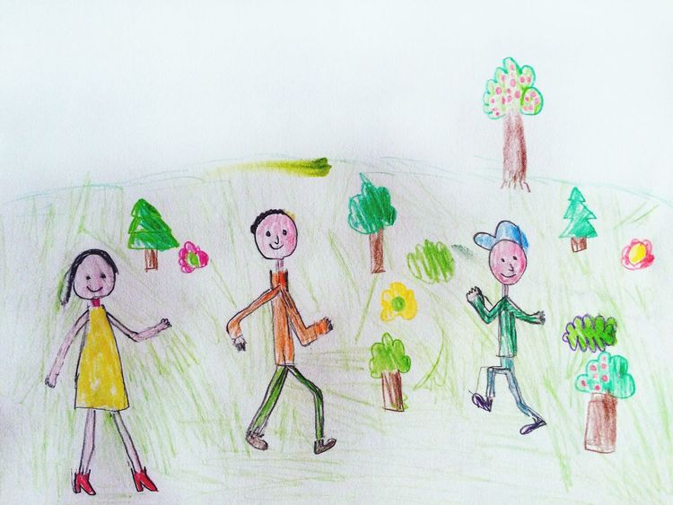 Alex Drawing 7 years old Алекс рисует People Pencil Drawing Child Drawing Pencil Family Boy Girl Man Woman Drawing Picture Grass Outdoors Painting Colorful Hand Drawing Paper Fun Tree Friends