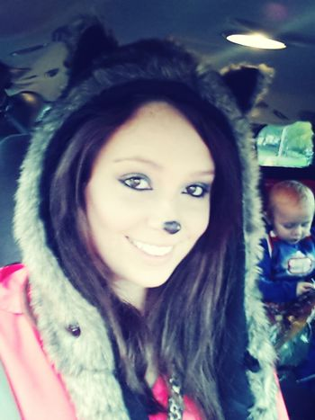 Once again... I am ze Fox :) And I have Iron Man in the backseat! On The Road HappyHalloween2013! Fox Selfie