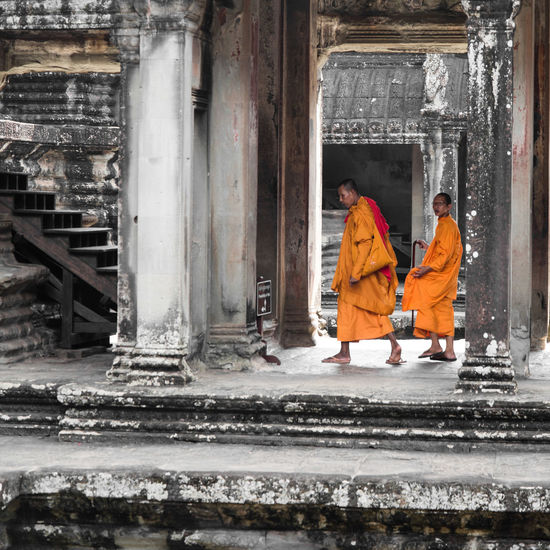 Selected Color Square Taking Photos Check This Out Enjoying Life Angkor Angkor Wat Monk  Monks Cambodia Khmer Fantastic Exhibition Great Performance Feel The Journey Temple Orange Buddhism Unesco World Heritage Selective Color
