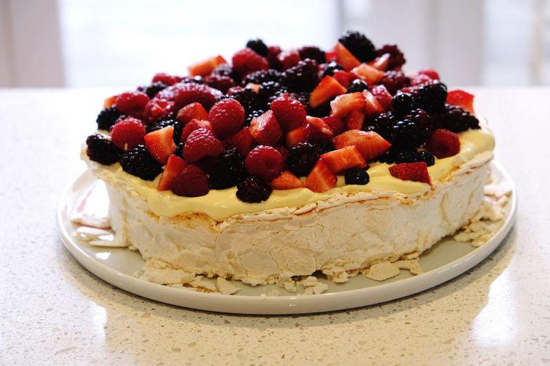 Close-up of pavlova cake on table