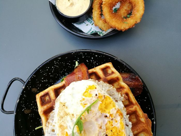 healthy dinner Burger Waffles Onion Rings Topdown Cheatmeal Indoors  Food Food And Drink Plate Freshness Directly Above No People Close-up Ready-to-eat Fried Egg Egg Yolk Day