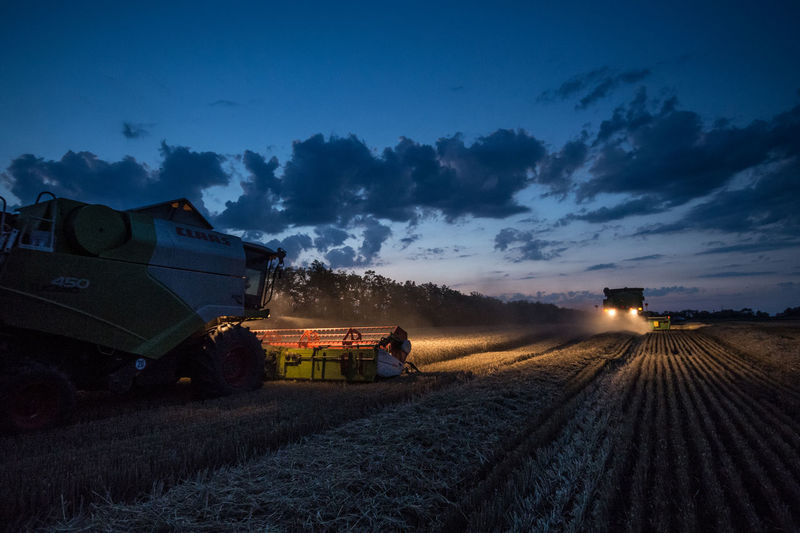 Illuminated machinery harvesting plants on field