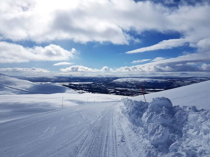 Sweden Skiing Ski Ski Slope Cold Temperature Snow Up On The Mountain Ski View Slope Water Sea Cold Temperature Sky Horizon Over Water Cloud - Sky Landscape