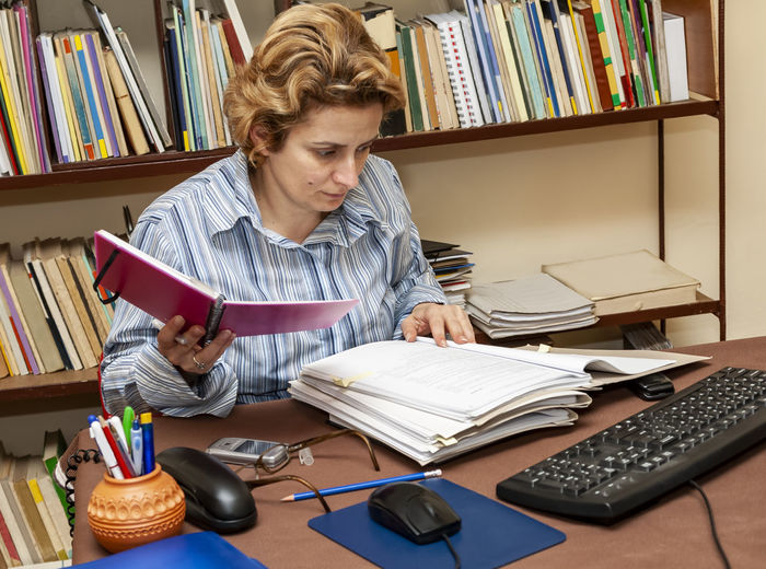 Woman working at desk in office