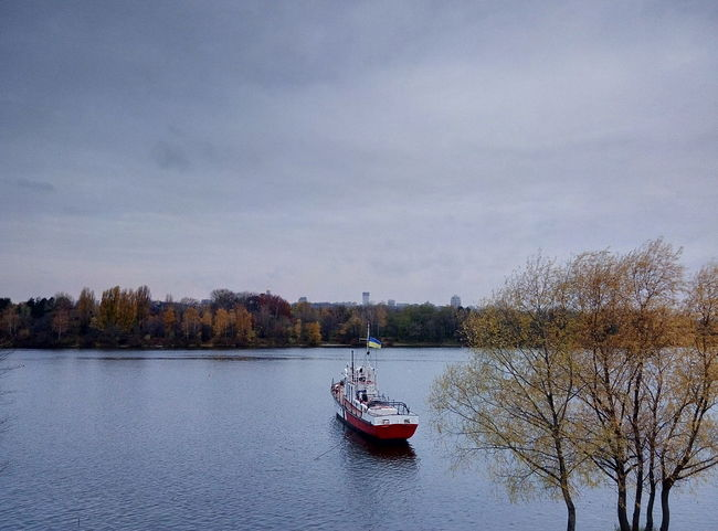 Nautical Vessel Outdoors Tree Water Nature Kiev Kyiv,Ukraine Rusanovka Dnipro River No People Autumn Ships Ship Ships On The Water