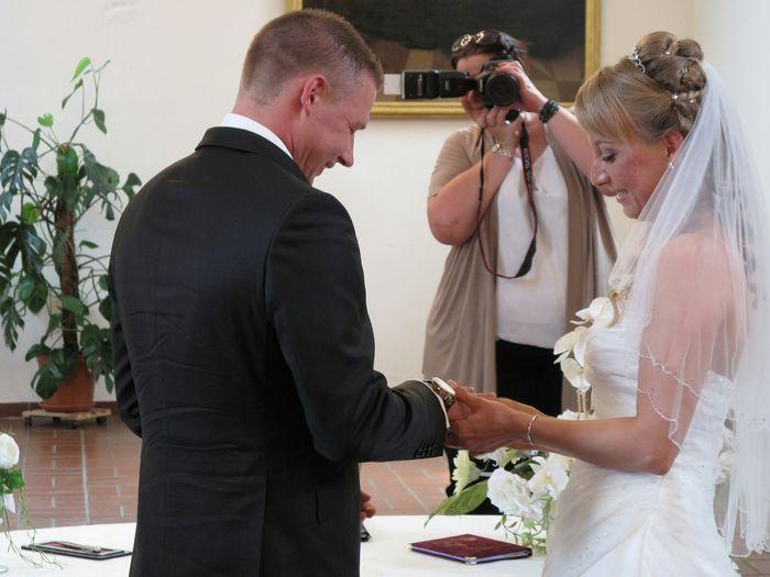 Wedding photographer and couple