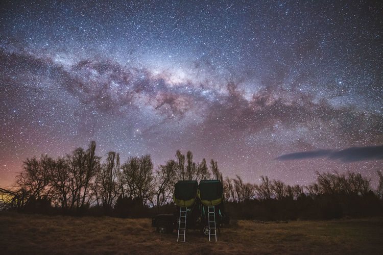 Star - Space Night Sky Galaxy Scenics - Nature Beauty In Nature Astronomy Space Tree Plant Star Nature Constellation Star Field Field Tranquility Tranquil Scene Milky Way No People Land Outdoors Car Tent