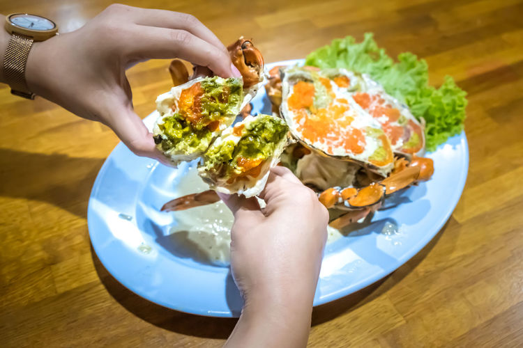High angle view of hand holding food in plate on table