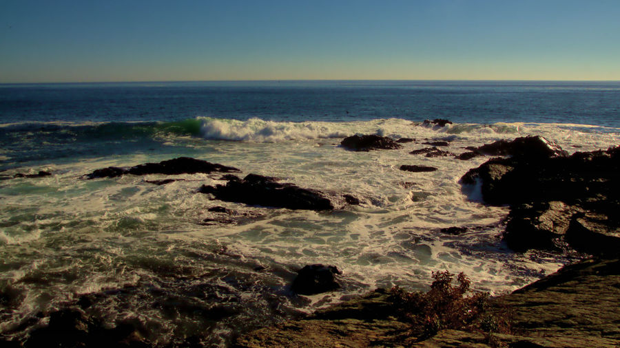 Atlantic Ocean Marginal Way Ogunquit Maine Surf Beach Beauty In Nature Clear Sky Day Horizon Over Water Nature No People Outdoors Rocks Scenics Sea Sky Water Wave