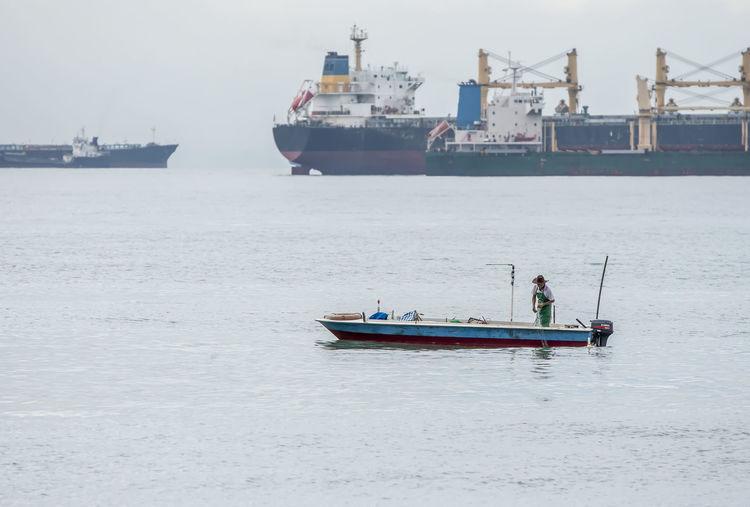 Fishing boat sailing in sea
