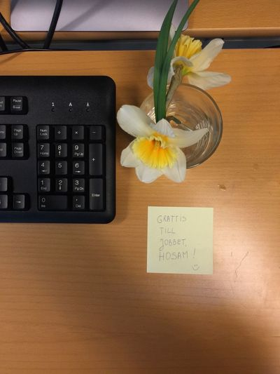 Congratulations New Job  Office Surprise Sticky Notes Flower Vase Indoors  Text Table Fragility Communication Freshness No People Bouquet Flower Head Close-up Nature Day Yellow