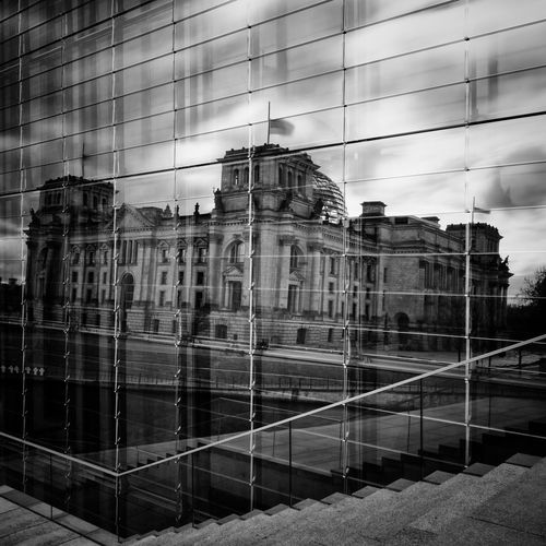 Reichstag Building Reflecting On Glass