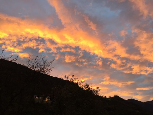 October 2, 7.20 pm sky Vaduz Silhouette Beauty In Nature Yellow Color Cloud - Sky Tranquility Structures