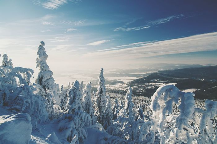 Sunset Cold Temperature Ice Snow Winter Frozen Sea No People Travel Destinations Outdoors Day Nature Sky Sun Sunset Clouds Snow ❄ Snow Covered Trip Czech Republic Jested Perspectives On Nature