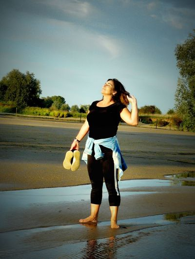 Tree Water Full Length Standing Young Women Sky Casual Clothing