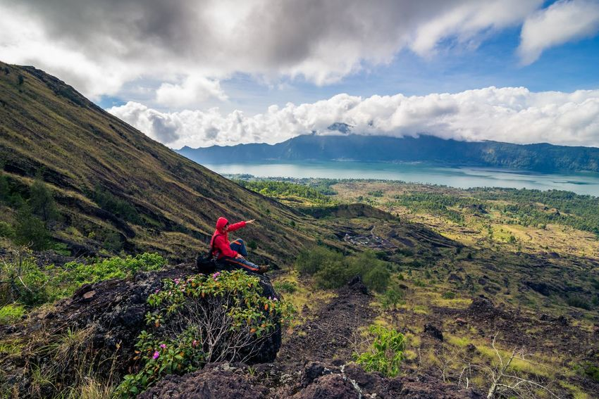 Hiker on Batur Volcano, Indonesia Bali Batur Freedom Hiking Nature Tourist Adult Adults Only Adventure Backpack Beauty In Nature Cloud - Sky Day Full Length Group Of People Hiker Hiking Landsacpe Landscape Leisure Activity Lifestyles Mountain Mountain Range Nature One Person One Woman Only Only Women Outdoors Real People Red Scenics Sky Tourism Tranquil Scene Tranquility Volcano