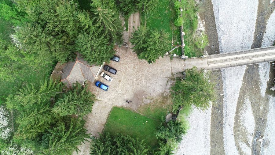 Aerial View Aerial Photography Picea Abies River Cars Building Exterior Tree Working Agriculture High Angle View Field Grass Plant Green Color Plantation Aeroplane