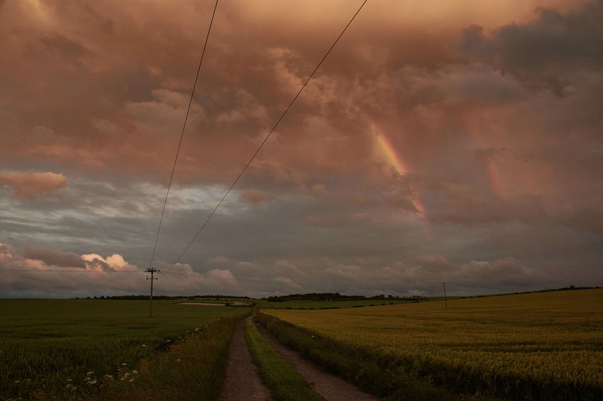Stormy summer skies Cloud - Sky England England🇬🇧 Hertfordshire Rainbow Road Rural Skies Sky Storm Stormy Sunset Sunset_collection Weather