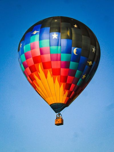 Hot Air Balloon Low Angle View Flame Air Vehicle Clear Sky Ballooning Festival Multi Colored Adventure Flying Vibrant Colors