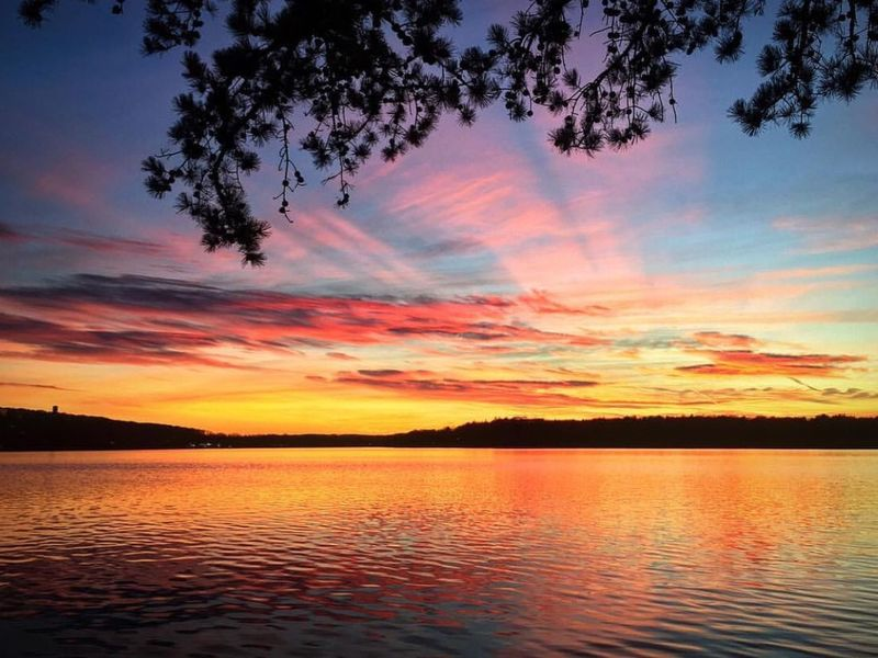 """Sunset Budd Lake, NJ"""" Sunset Beauty In Nature Nature Scenics Sky Tranquil Scene Tranquility Water No People Cloud - Sky Silhouette Orange Color"""