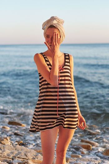 Photos from the camping at the Black Sea 2017 Beach Beautiful Woman Beauty In Nature Clothing Fashion Horizon Over Water Land Leisure Activity Lifestyles Nature One Person Outdoors Real People Sea Sky Standing Striped Water Women Young Adult Young Women