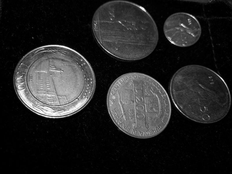 Lire Italiane Monete Money Metal Economy Blackandwhite Photography The Purist (no Edit, No Filter) Money Collection