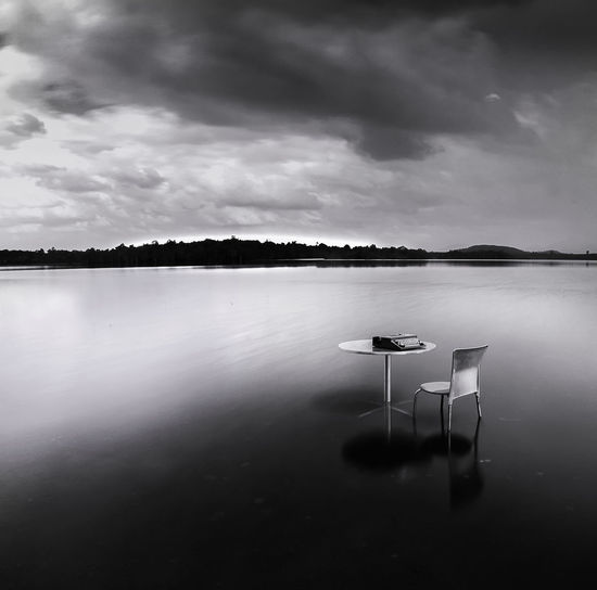 table in the lake Absence Beauty In Nature Chair Cloud - Sky Day Idyllic Lake Nature No People Outdoors Reflection Scenics - Nature Seat Sky Tranquil Scene Tranquility Water Waterfront