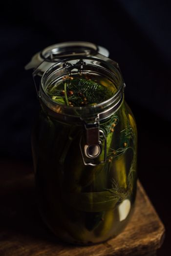 Lactic acid fermented cucumbers Cucumber Cucumbers Fermented Food Pickled Vegetables Pickled Cucumber Pickles Pickles Fermentation Fermenting No People Close-up Freshness Mason Jar Bottle Spice Healthy Eating Herb Vegetable Preserves