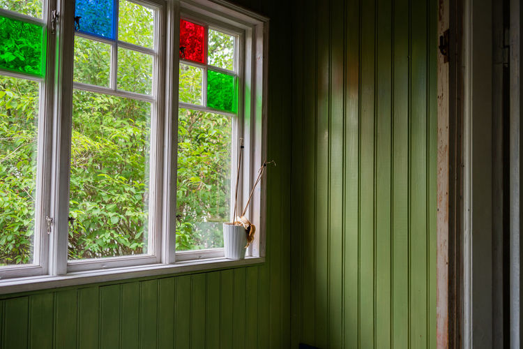 Interior Absence Architecture Building Curtain Day Domestic Room Glass - Material Green Color Home Interior House Indoors  Nature No People Open Plant Sunlight Transparent Tree Window Window Frame